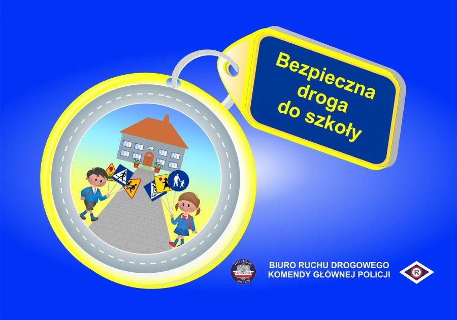 Breloczek z dziećmi idącymi do szkoły, napis: Bezpieczna droga do szkoły, Biuro Ruchu Drogowego KGP
