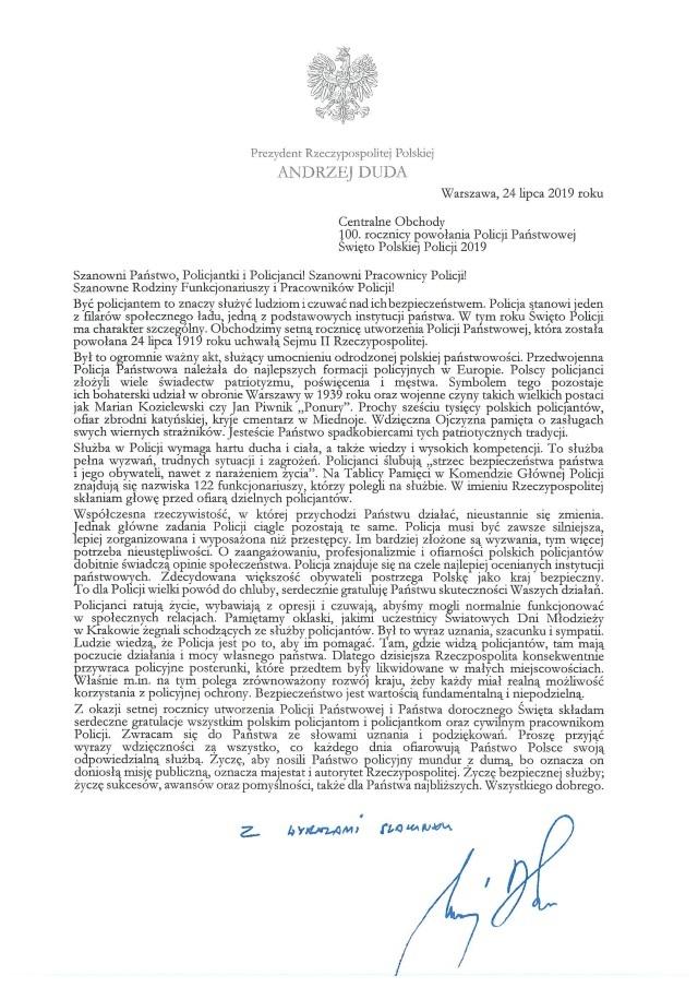 List Prezydenta RP