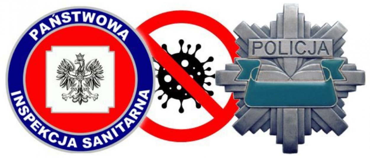 Zdjęcie kolorowe. Obok siebie od lewej: logo Państwowa Inspekcja Sanitarna, przekreślona grafika przedstawiająca wirus, logo Policji tzw. gwiazda
