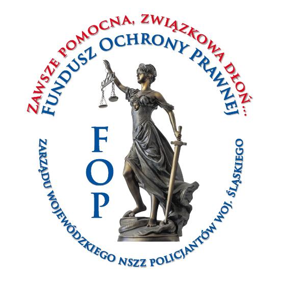 Logo z napisem Zawsze pomocna związkowa dłoń... Funduz Ochrony Prawnej FOP Zarządu Wojewódzkiego  NSZZ Policjantów woj. śląskiego