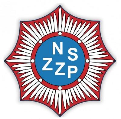 Logo Niezależnego Samorządnego Związku Zawodowego Policjantów. W środku znajdują się litery NSZZP