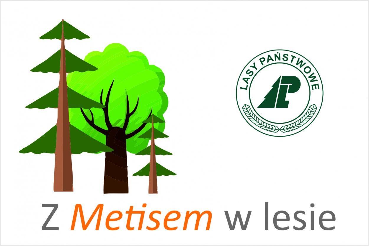 grafika przedstawia trzy drzewa, obok nich logo Lasów Państwowych oraz napis pod grafiką - z Metisem w lesie
