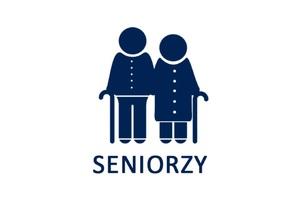 Piktogram przedstawiający parę seniorów o lasce z podpisem SENIORZY