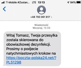 screen informacji tekstowej sms
